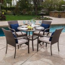 Outdoor Brown Wicker 5-piece Dining Set With Beige