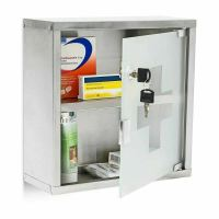 Metal Wall Mounted Lockable Medicine Cabinet Cupboard ...