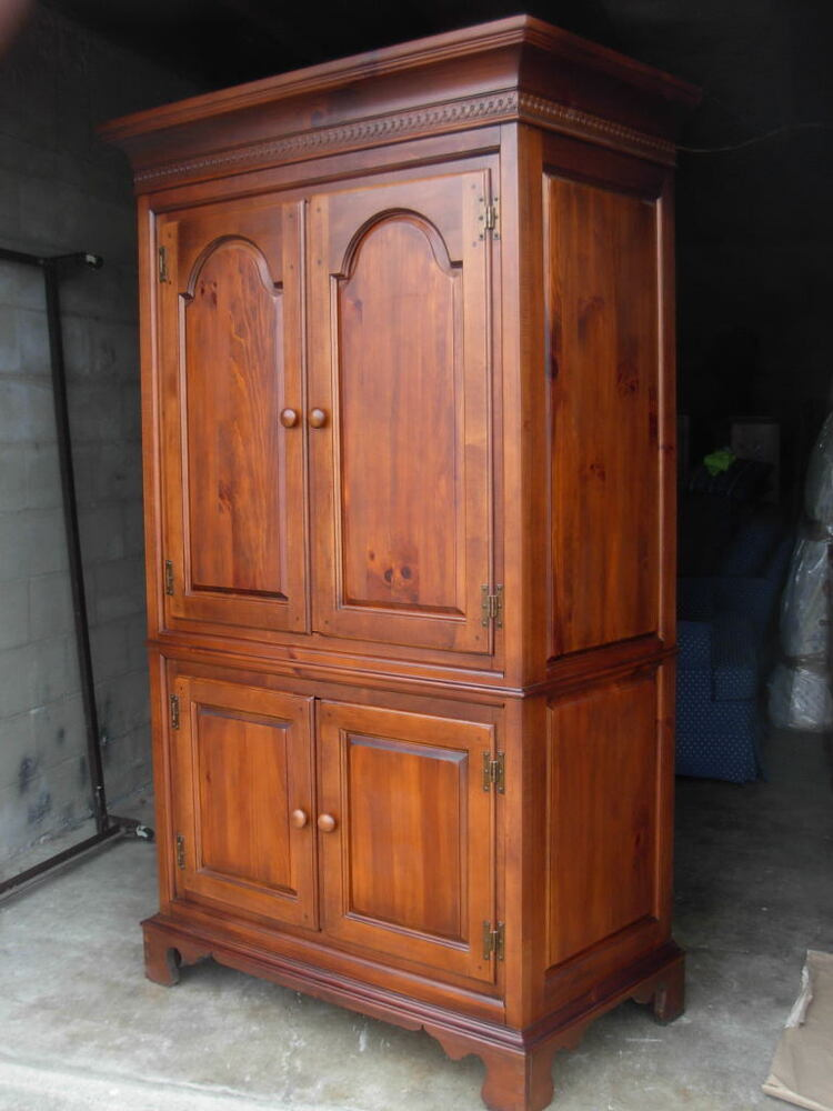 Rare Vintage Armoire  Dixie Furniture  USA Made Cherry Finish over Solid Pine  eBay