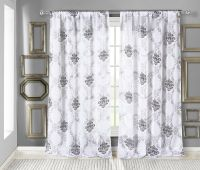 White Textured Sheer Window Curtain Panel: Black Medallion ...