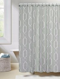 Gray Linen Textured Sheer Fabric Shower Curtain: White Geo ...