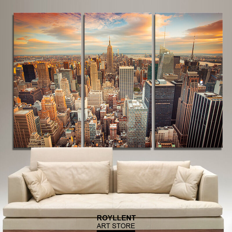 Canvas Painting Print Wall Art Home Decor Landscape Paint New York City Unframed  eBay