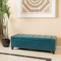 Contemporary Teal Leather Storage Ottoman Bench | eBay