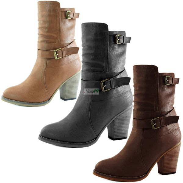 High Heels Ankle Buckle Boots Women