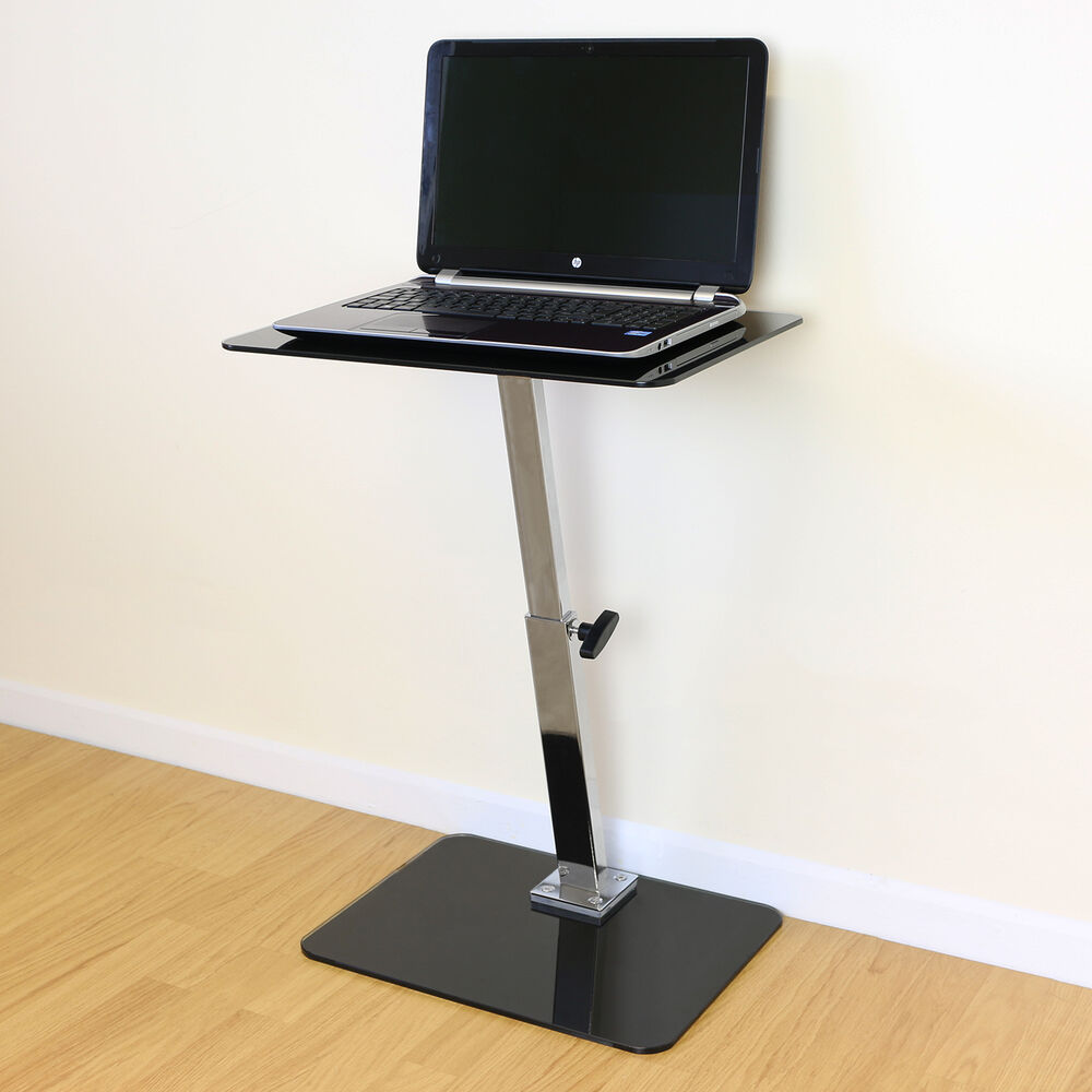 Black Glass Adjustable LaptopNotebook Table Stand Bed