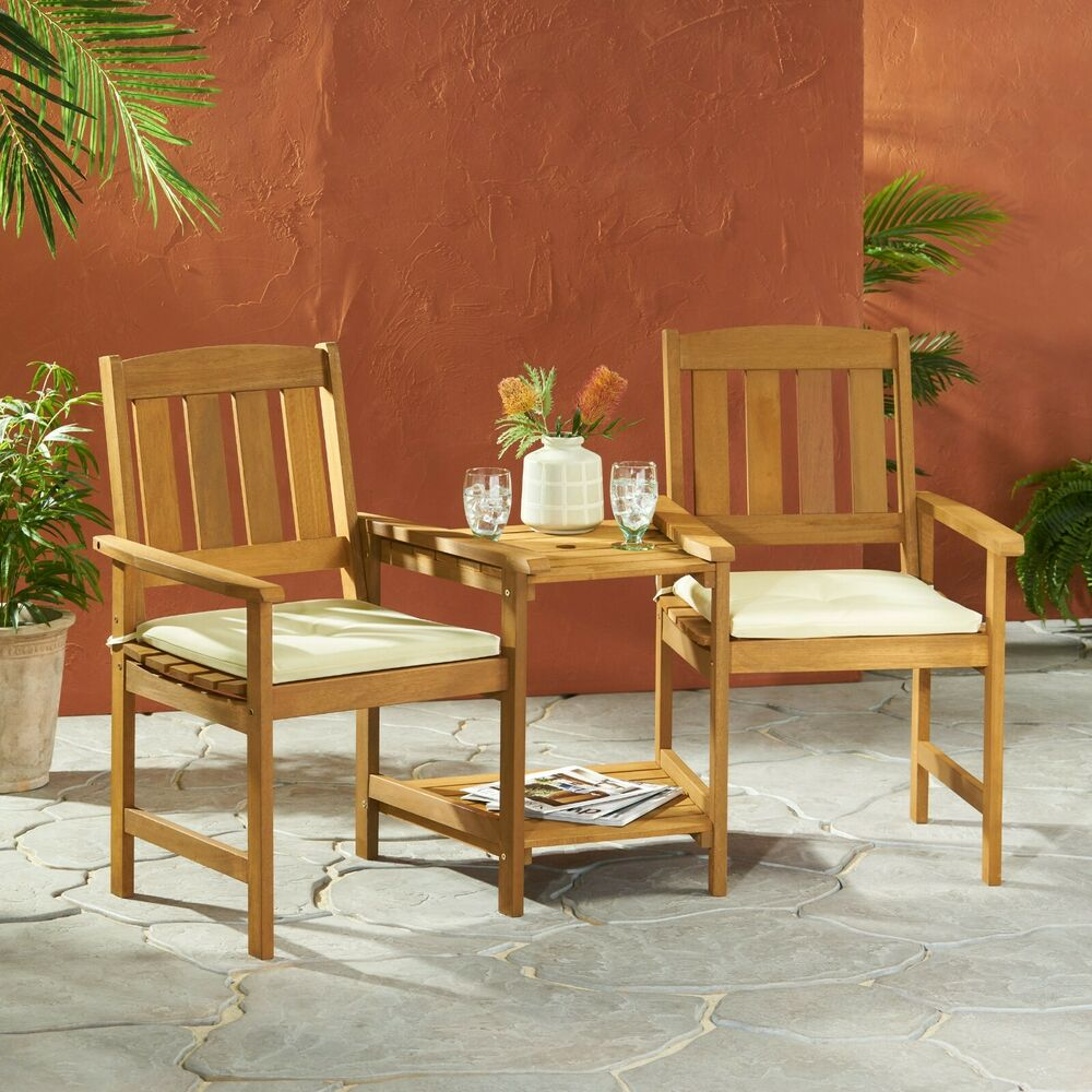 Outdoor Wood Adjoining 2Seater Chairs with Cushions  eBay