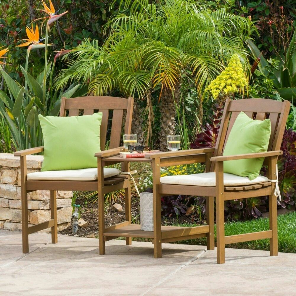 outdoor dining chairs stackable wheelchair easy drawing wood adjoining 2-seater with cushions | ebay