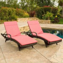 Set Of 2 Outdoor Wicker Armed Chaise Lounge Chair With
