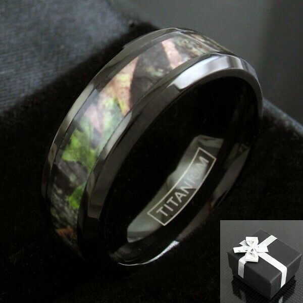 Black Titanium Mens Red Amp Green Forest Camo Wedding Band