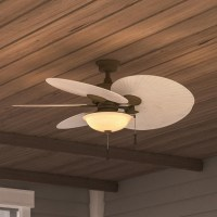 """Wet Rated 48"""" Outdoor/Indoor Palm Leaf Ceiling Fan Light ..."""