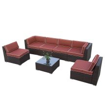 7pc Outdoor Rattan Wicker Sectional Garden Furniture Sofa
