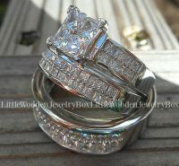 His & Hers 14k White Gold 925 Sterling Silver Engagement ...