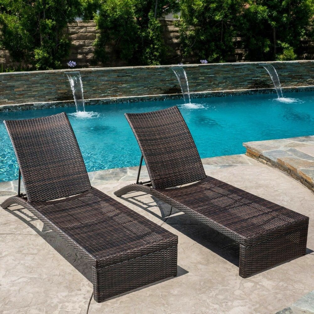 Set of 2 Outdoor Patio Brown PE Wicker Chaise Lounge