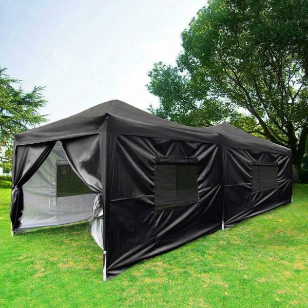 Quictent 10x20 Feet Black Screen Curtain Ez Pop Canopy Party Tent Gazebo