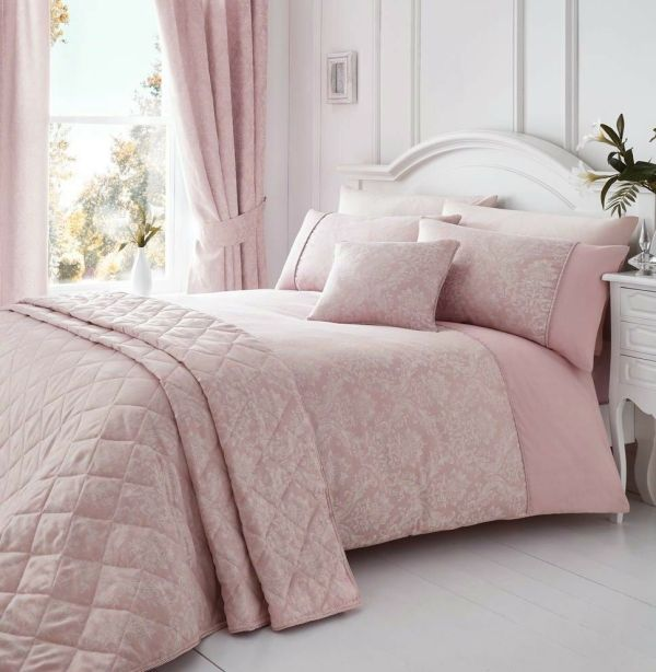 Laurent Pink Woven Damask Quilt Duvet Cover Sets Bedding Luxury Bed Linen