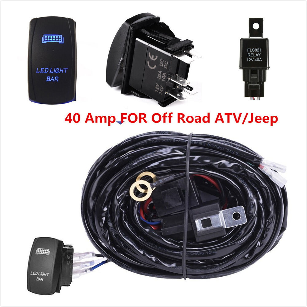 medium resolution of 40 amp off road atv jeep blue led light bar wiring harness installing led light bar