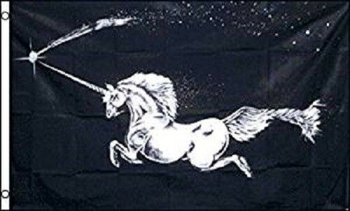 3x5 Unicorn Horse Pegasus Black Mythical Creature Flag 3
