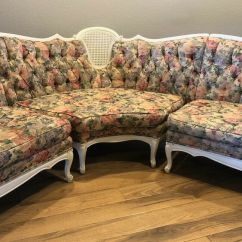 Antique French Sofa Ebay Cream 2 Seater Loose Covers Re-upholstered Provincial 3-piece Sectional ...