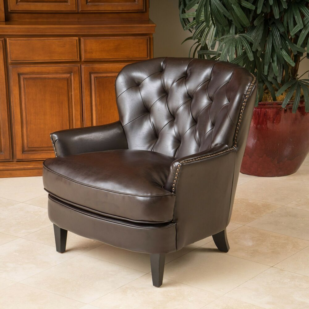 Living Room Furniture Brown Tufted Leather Club Chair w Nailhead Accent 637162143445  eBay