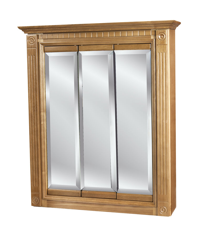 30 x30 3 door mirrored oak medicine cabinet