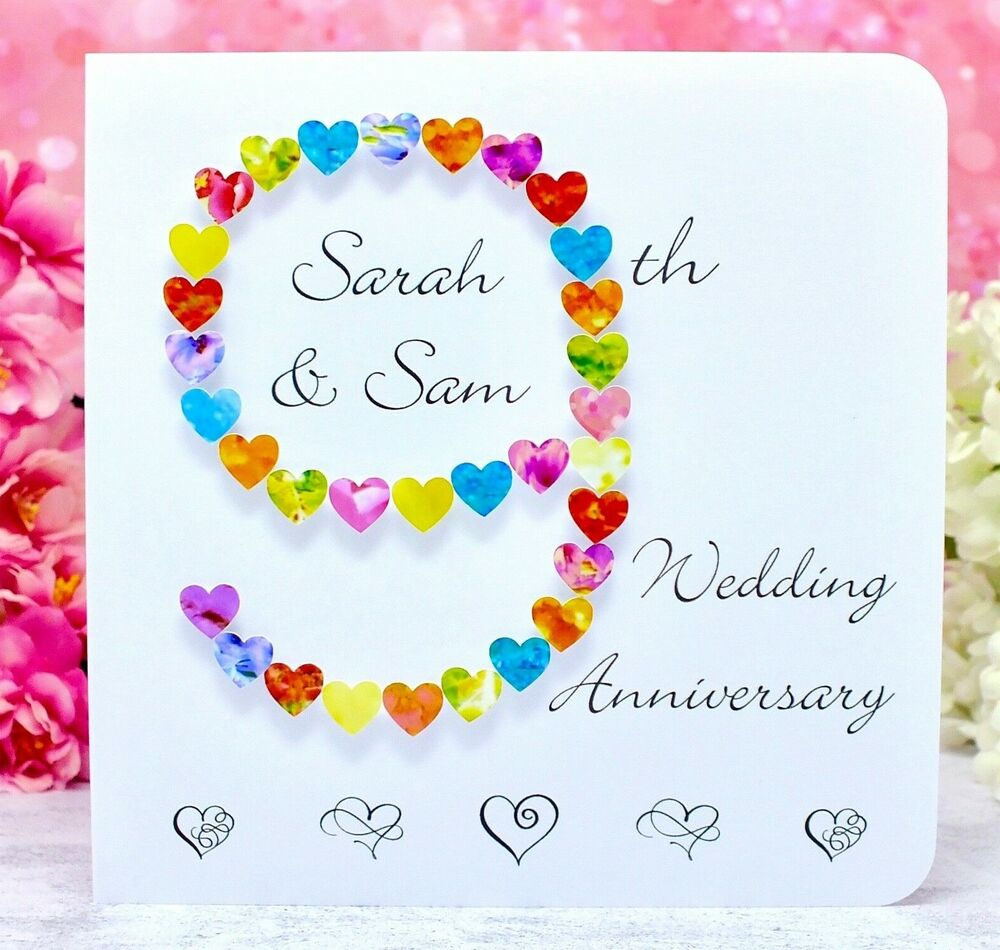 Handmade 9th Wedding Anniversary Personalised Ninth Anniversary Card 3D BHAN09  eBay