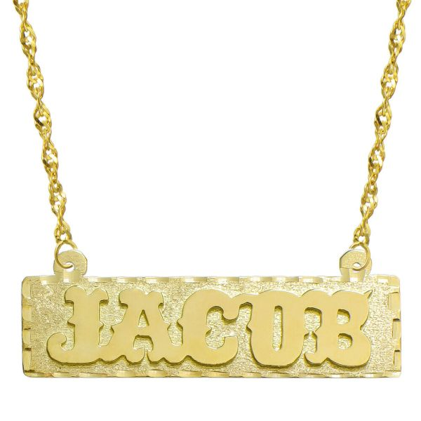 14k Yellow Gold Personalized Plate Necklace - Style 4