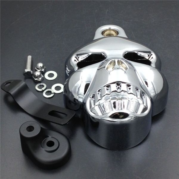Motorcycle Chrome Skull Horn Cover Harley Davidson