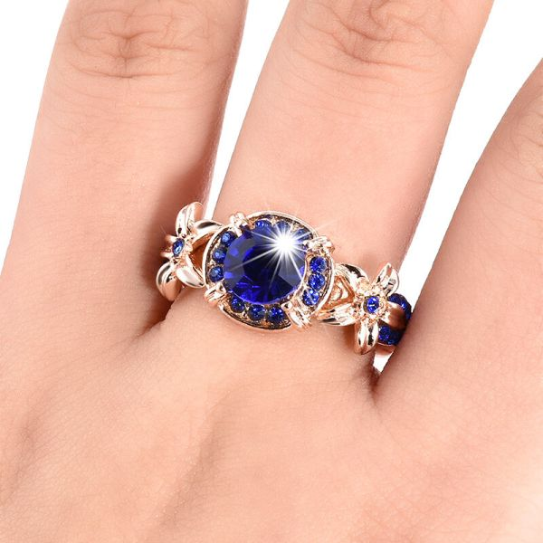 Women Blue Sapphire Rose Gold Filled Engagement Ring Size