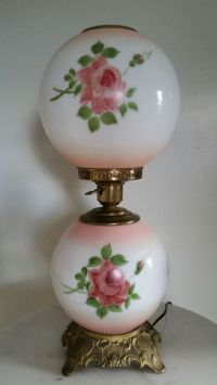 VINTAGE BANQUET GWTW LAMP HAND PAINTED ROSES MILK GLASS