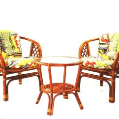 2 Chairs And Table Rattan Barber Antique Dining Furniture Set Bahama W Cushion Round Details About Cognac