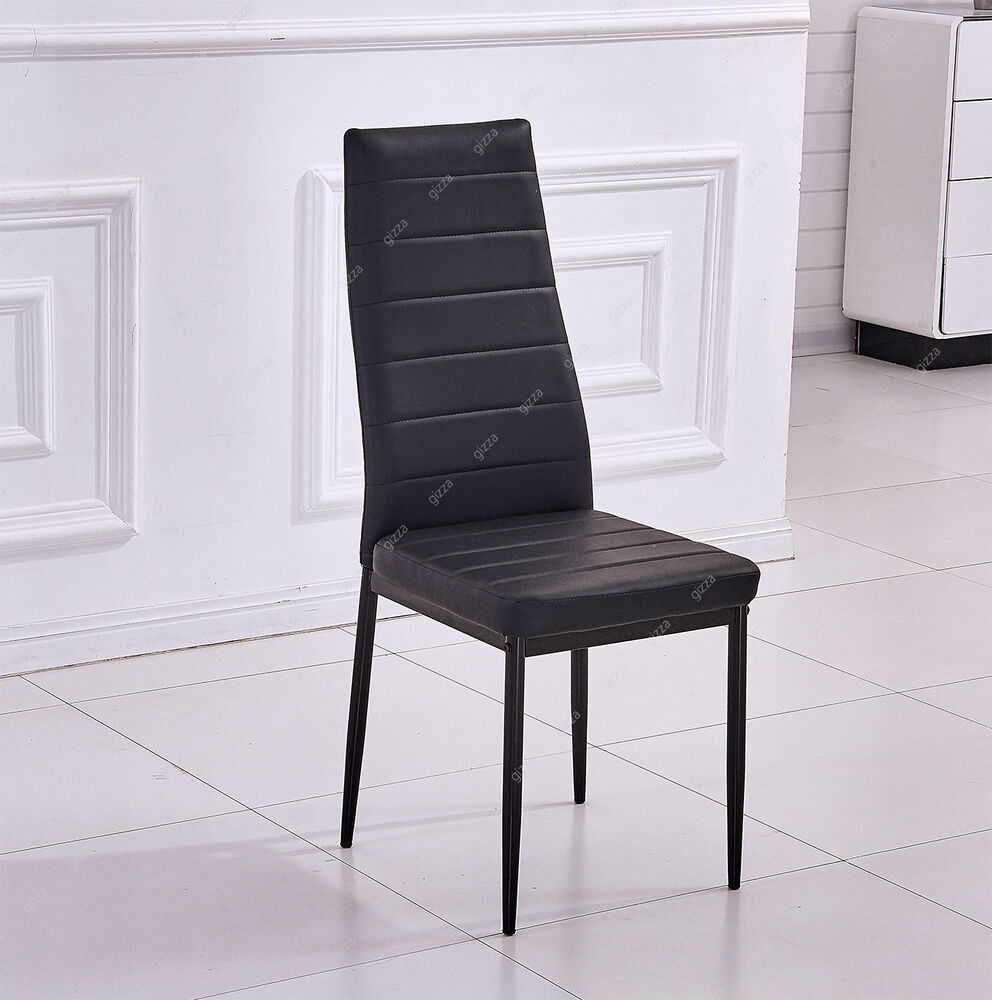 high back oak dining chairs chair covers for sale modern room 2/4/6 faux leather seat pad black kitchen new   ebay