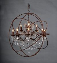 "36"" 12-LIGHT RUSTIC IRON CRYSTAL ORB CHANDELIER - A ..."
