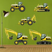 Digger Tractor Wall Sticker Set Construction Wall Decal ...