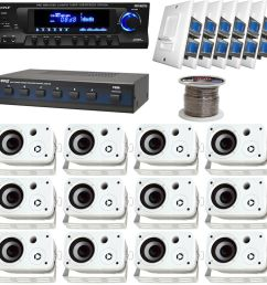 details about white 6 5 box speakers speaker selector volume knob wires pyle usb receiver [ 1000 x 1000 Pixel ]