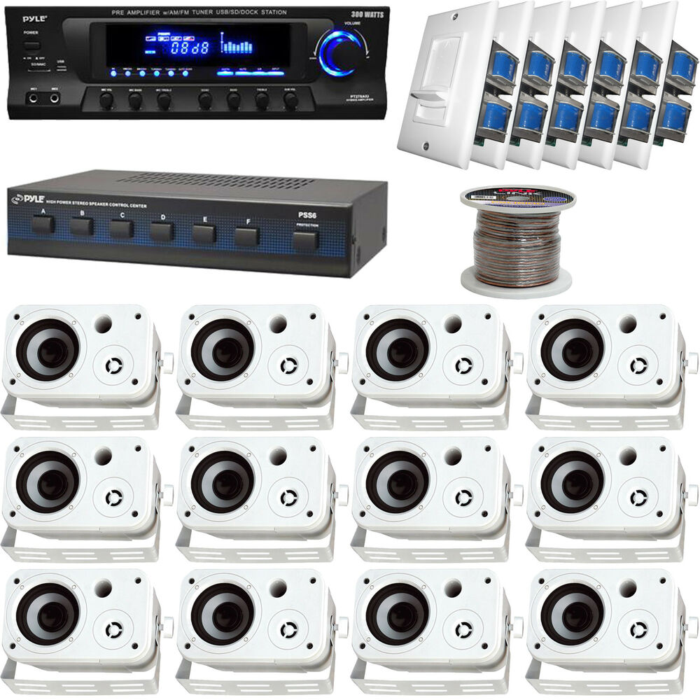 medium resolution of details about white 6 5 box speakers speaker selector volume knob wires pyle usb receiver