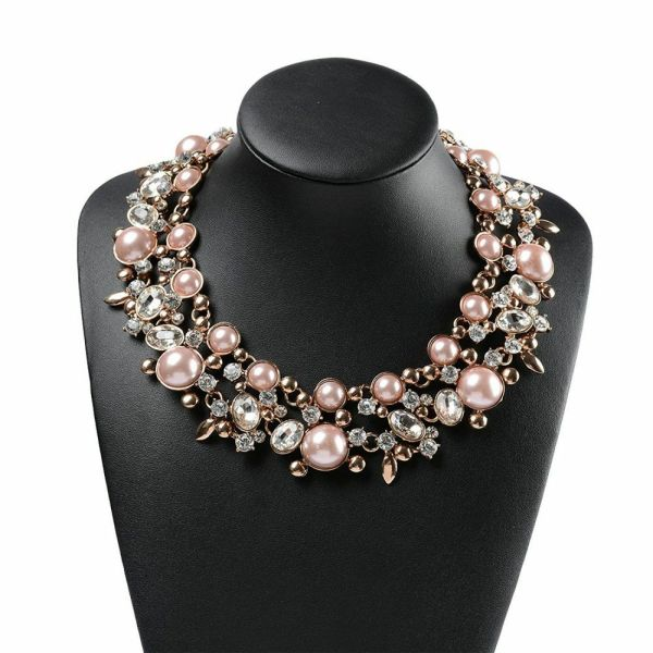 Faux Pink Pearl Crystal Choker Statement Necklace Costume