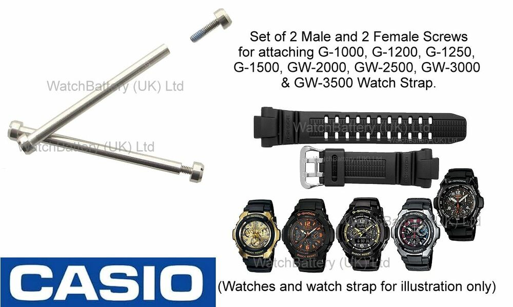 Casio Watch Strap Band Screws G-1000 G-1010 G-1500 GW-2000
