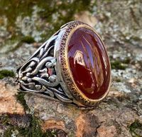 925K Sterling Silver Red Agate (Aqeeq) Men's Ring -USA ...