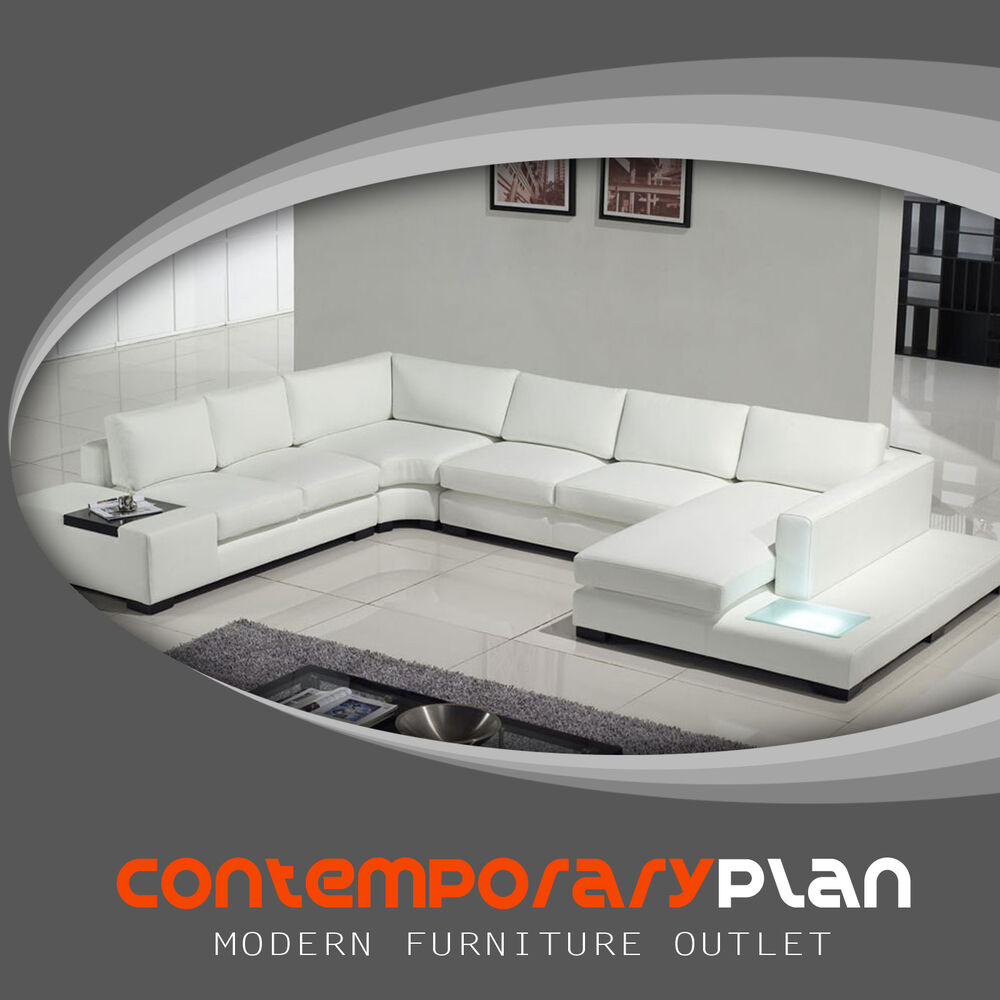 white bonded leather sectional sofa set with light fresco antique contemporary built in table details about headrest