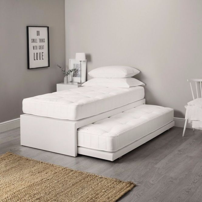 3ft Single Leather Guest Bed 3 In 1 With Mattress Pullout Trundle Set