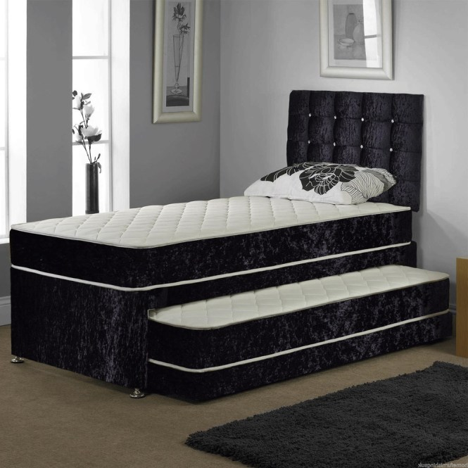 3ft Single Velvet Guest Bed 3 In 1 With Mattress Pullout Trundle Set