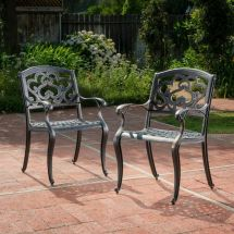 Augusta Outdoor Cast Aluminum Dining Chairs Set Of 2