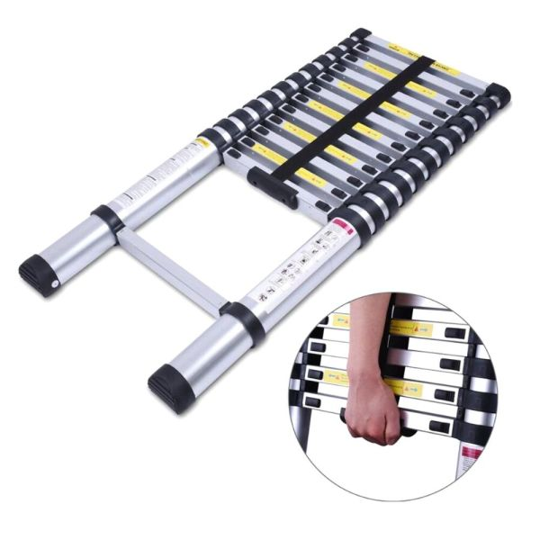 10.5ft Aluminum Multi-purpose Telescopic Ladder Extension Loft Steps Tall En131 643665840279