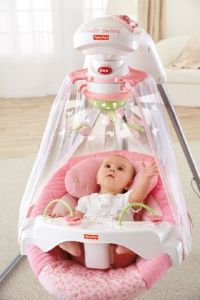 FISHER PRICE SWING Pink Cradle Rocker Infant Baby Girl