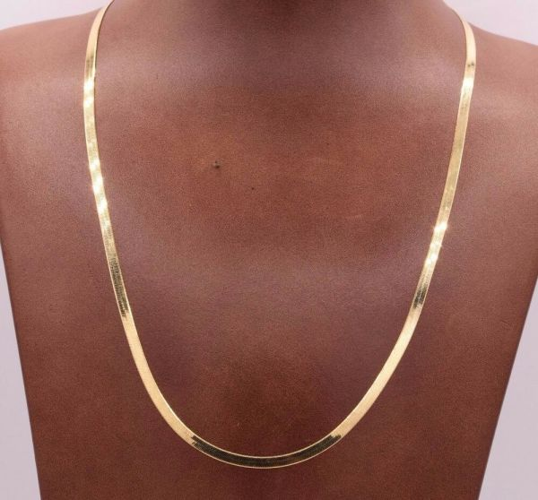 High Polished Herringbone Necklace Chain 14k Solid Yellow