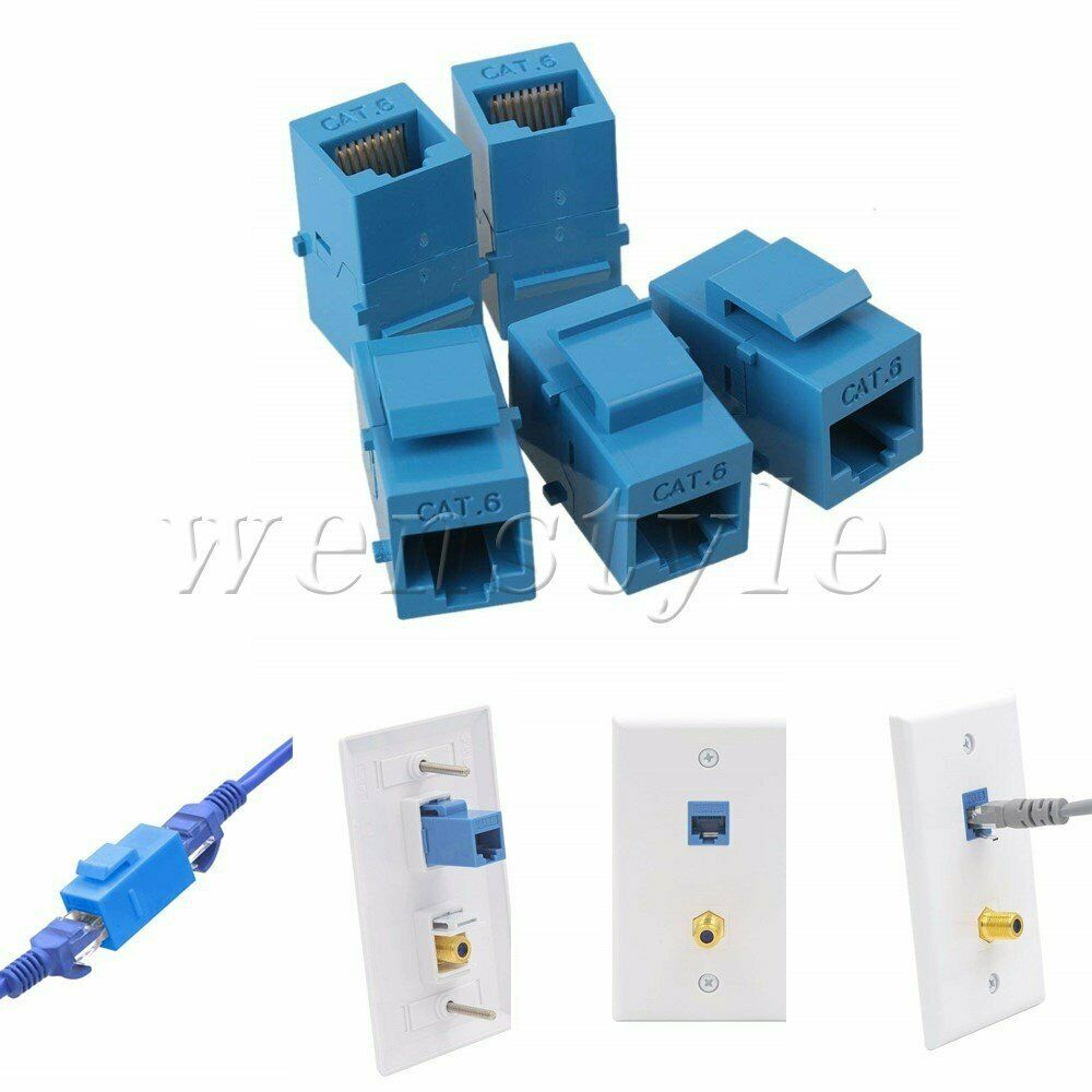 medium resolution of details about 5p cat6 inline rj45 keystone coupler jack adapter socket wall plate patch panel