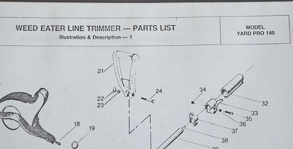 Orig Vintage Weed Eater Line Trimmer Illustrated Parts