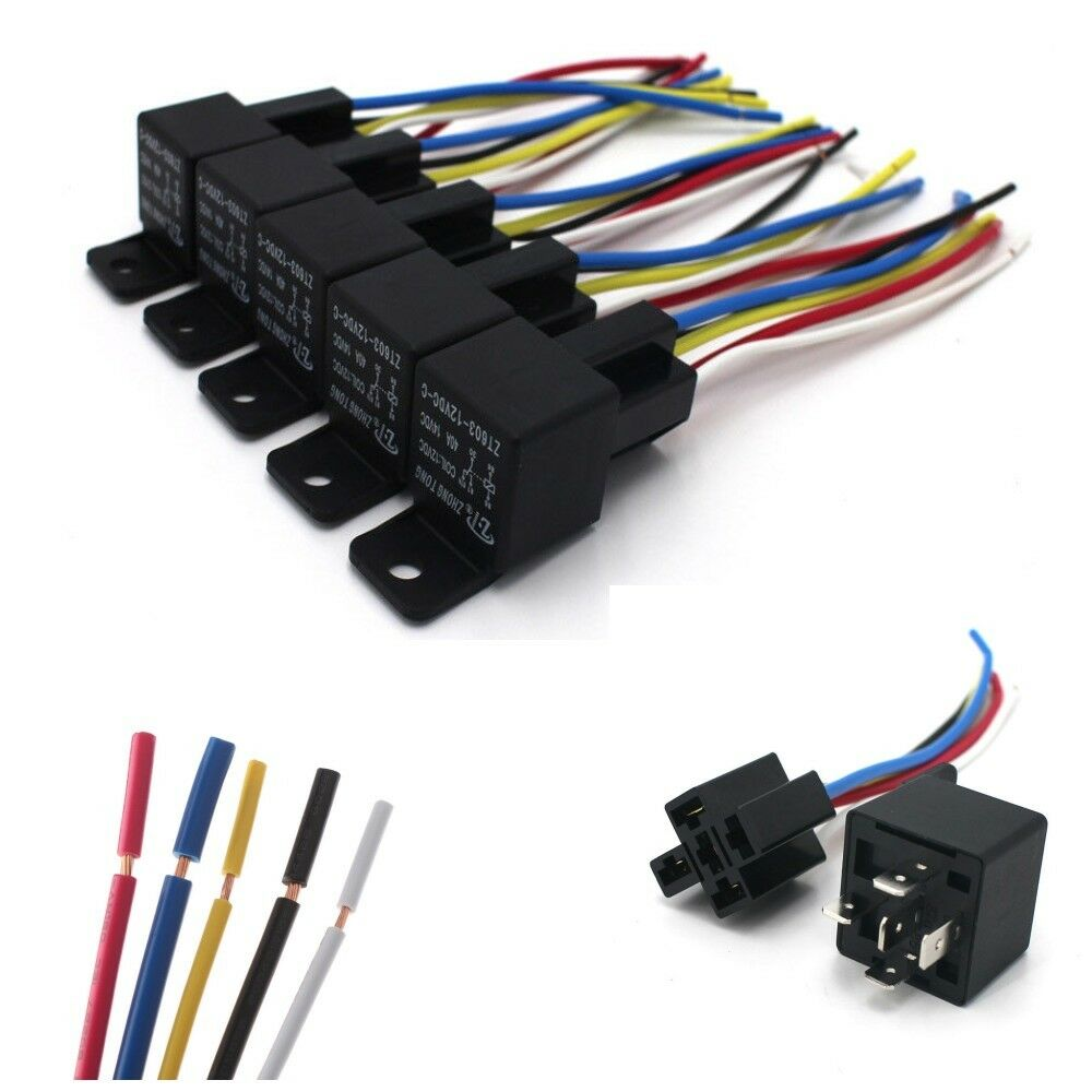 medium resolution of details about 5 pack 12v 30 40 amp 5 pin spdt automotive relay with wires harness socket set