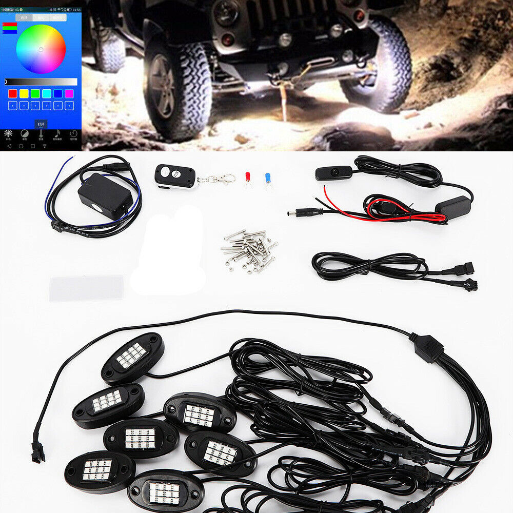 hight resolution of details about 8pcs rgb led under body lighting rock lamp offroad truck boat rc wireless