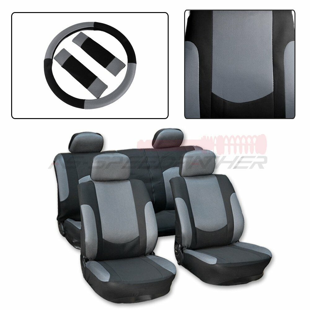 hight resolution of details about for saab black gray polyester mesh durable car seat cover w steering wheel cover